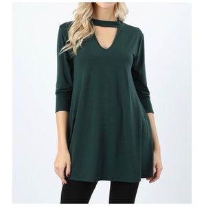 3/4 sleeve top tunic hunter green NWT